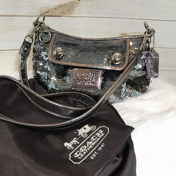 Coach Handbags - COACH Poppy Sequin Gunmetal Limited Edition Purse 8f42bbe8f0